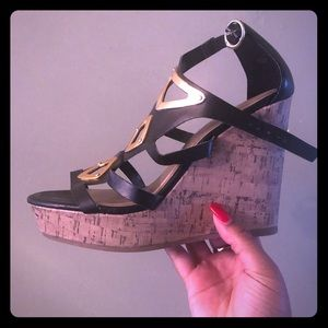 Wedges black and gold worn once for 10 minutes